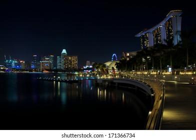 Skyline Singapore with Walkway