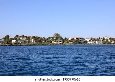 Skyline of Singer Island, Florida as seen from the Palm Beach Inlet from a boat.