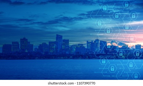 The Skyline of smart city, Protection Safety Security Concept