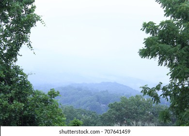 Skyline of the Smokey Mountains with Trees on Both Sides