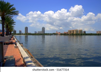 Skyline of St Petersburg Florida from The Pier