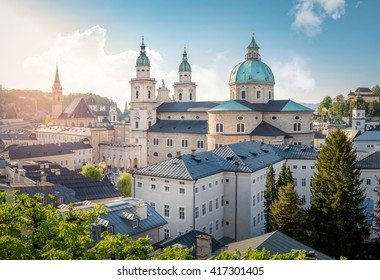 Skyline of Stadt Salzburg with Cathedral in summer at sunset, Salzburg, Austria