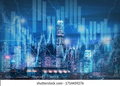 Skyline- und Börsenplan - Immobilien    Konzept