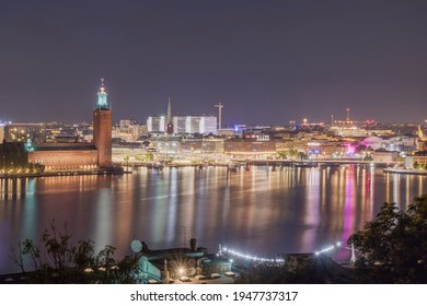 The skyline of Stockholm by night