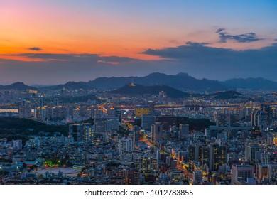 skyline sunrise at seoul city korea