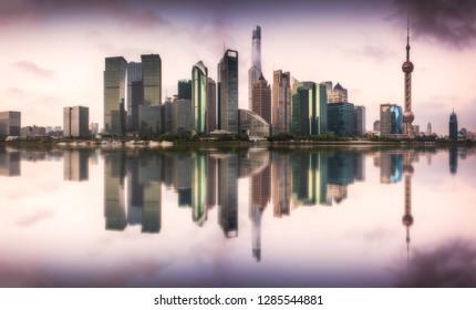 skyline sunrise in shanghai ,china
