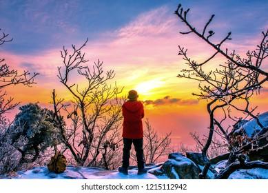 skyline sunrise in winter at kwanaksan mountain seoul south korea