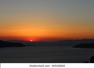 Skyline Sunset of Greek Islands in the Summer