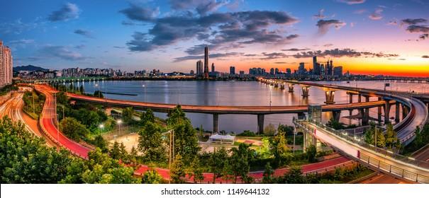 skyline sunset at han river in seoul south korea