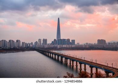 skyline sunset at Han river Seoul South Korea