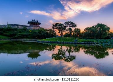 Skyline sunset at Hwaseong Fortress in suwon city south Korea