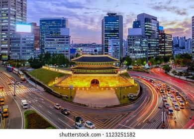 skyline sunset at namdaemun gate seoul korea