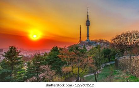 skyline sunset at namsan mountain in Seoul south Korea