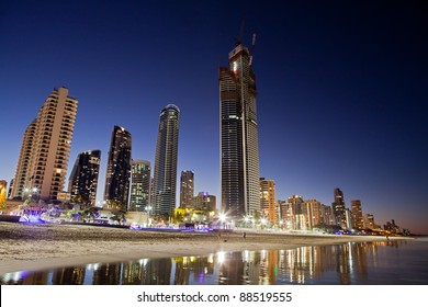 Skyline of Surfers Paradise taken from the beach