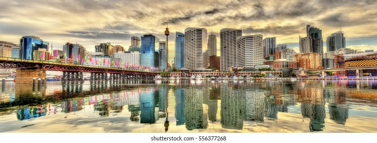 Skyline of Sydney at Cockle Bay - Australia, New South Wales