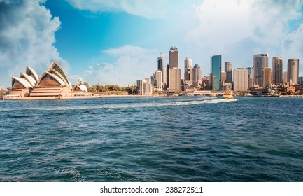 Skyline of Sydney from the sea.