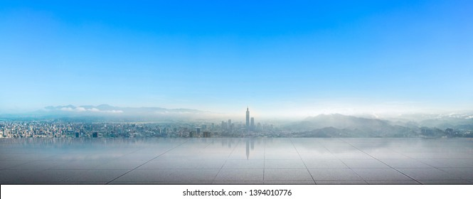 Skyline of taipei city in downtown Taipei, Taiwan.