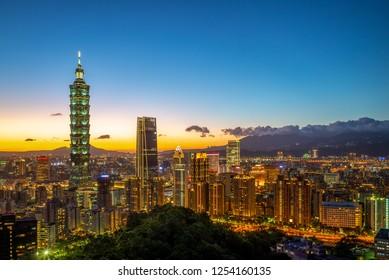 skyline of Taipei city at night in taiwan with taipei 101