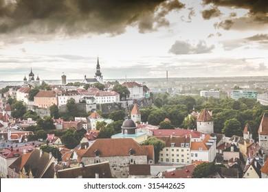 Skyline of Tallinn, Estonia at the old city.
