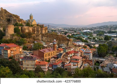 Skyline of Tbilisi and Narikala Castle, Tbilisi, Georgia