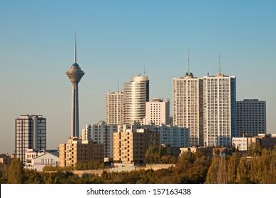 Skyline of Tehran shot in the morning light.