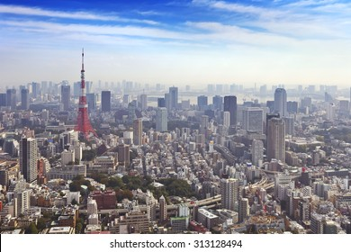 The skyline of Tokyo, Japan with the Tokyo Tower photographed from above.