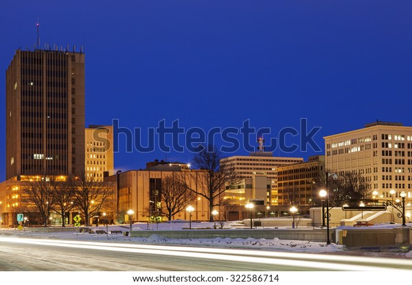 Skyline of Topeka at sunrise. Topeka, Kansas, USA.