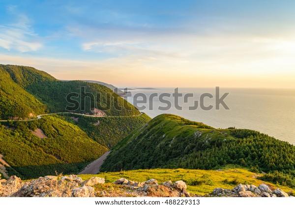 Skyline Trail look-off at sunset (French Mountain, Cape Breton, Nova Scotia, Canada)