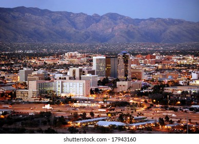 Skyline of Tucson, Arizona, after sunset, from Sentinel Peak Park
