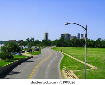 Skyline of Tulsa Oklahoma from pedestrian bridge in 2008 - historical View that of what is now been built up