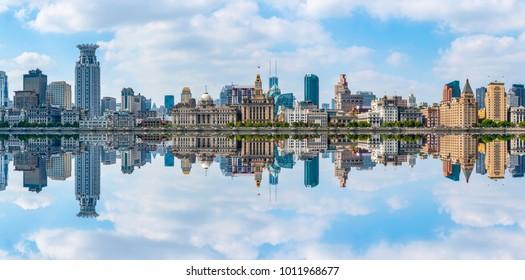 The skyline of urban architectural landscape in the Bund, Shanghai