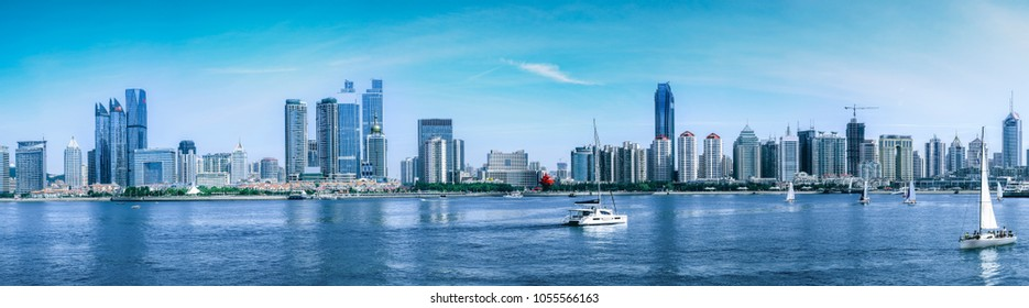 Skyline of urban architectural landscape in Qingdao