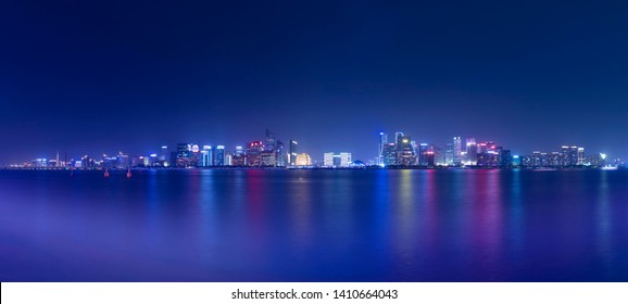 Skyline of urban architectural landscape,Beautiful city nightscape in Hangzhou, China.