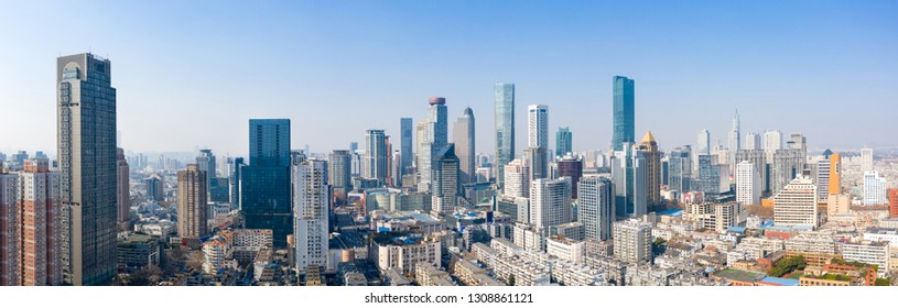 Skyline in the urban area of Nanjing city in a sunny day taken with a drone.