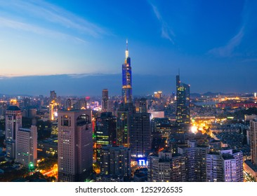 Skyline of Urban Nanjing City at Sunset.