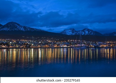 Skyline of Ushuaia at twillight, Tierra del Fuego, Argentina