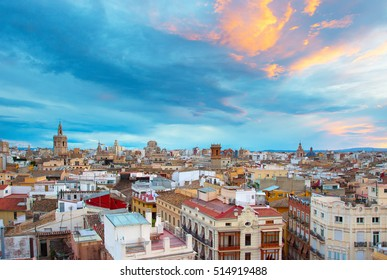 Skyline of Valencia at sunset with beautiful slouds