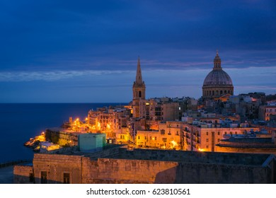 Skyline of Valletta in the morning with Basilica and St. Paul's Anglican Cathedral