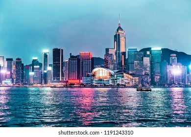 Skyline in Victoria Harbor in Hong Kong. View from Kowloon on HK Island.