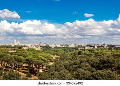 Skyline view of Almudena Cathedral and Royal Palace in Madrid, Spain