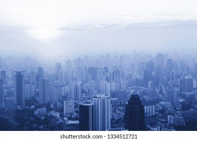 Skyline view of big city with pollution. Bad environment concept.