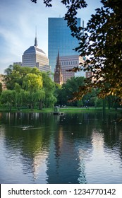 Skyline view of Boston, Massachusetts, from the Public Garden.