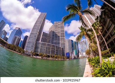 Skyline view of the Brickell Key district in downtown Miami.
