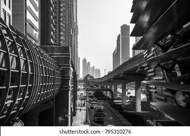 Skyline view of a business street of Dubai. Black and White.