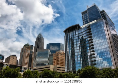 Skyline view of Charlotte, North Carolina. Visible logos and trademarks removed.