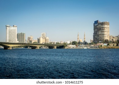 Skyline view of the city of Cairo, Egypt, taken from the river Nile