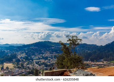 Skyline view of Coimbatore city from Ooty view point with beautiful sky formation, Ooty, India, 19 Aug 2016
