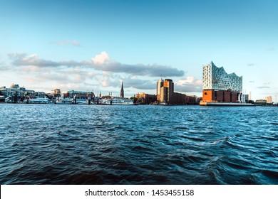 Skyline view of Hamburg, Germany with and Elbphilharmonie