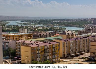 Skyline view of Khujand with Syr Darya river, Tajikistan - Shutterstock ID 1874897404