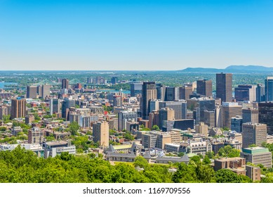 Skyline view from Mount Royal hill at the Montreal city - Canada